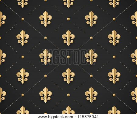 Seamless Gold Pattern With Fleur-de-lys On A Dark Black Background. Vector Illustration.