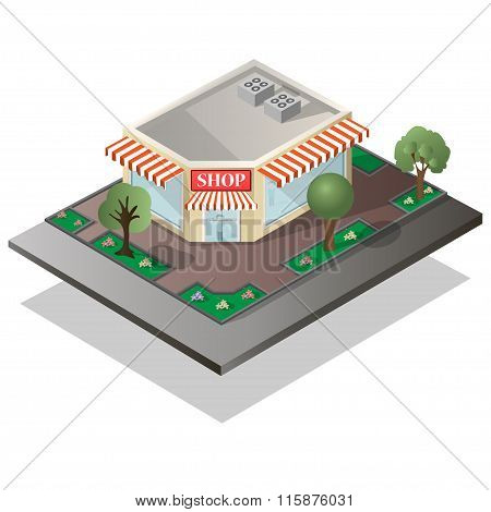 detailed isometric illustration of a store