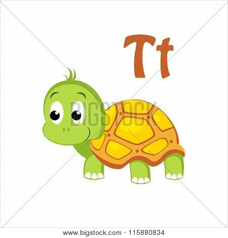 Turtle. Funny Alphabet, Animal Vector Illustration