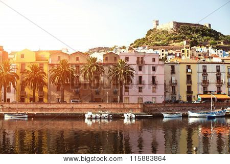 The town of Bosa and the old castle at sunset, Oristano, Sardinia, Italy