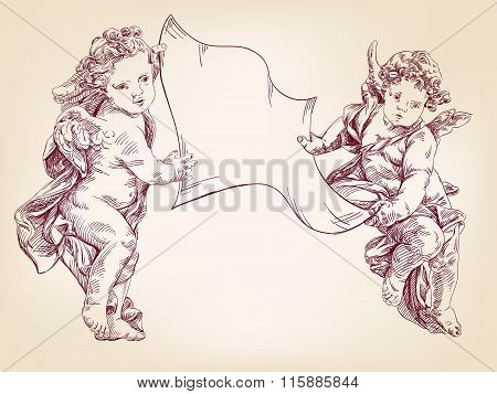 angels or cupid are holding a blank sheet of messages isolated hand drawn vector llustration realist