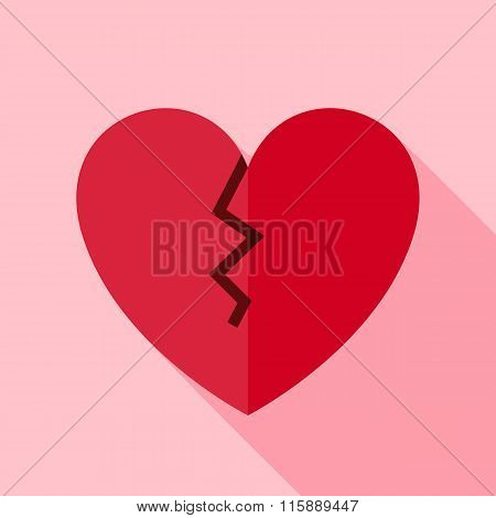 Vector Flat Design Broken Heart Icon