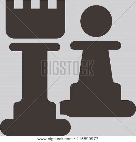 Silhouette of a chess piece - chess pawn and rook icon