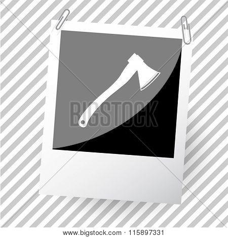 axe. Photoframe. Raster icon.