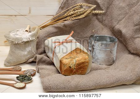 Whole Grain Bread, Seeds, Flour And Sifter