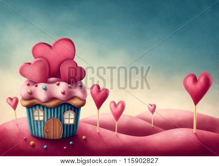 Fantasy cup cake house with hearts