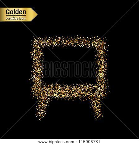 Gold glitter vector icon of TV screen isolated on background. Art creative concept illustration for