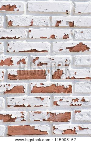 White Paint Peeling From Brick Wall Due To Weather And Age.