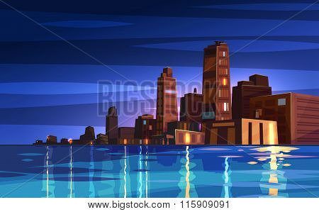 Vector beautiful night cartoon city with moon.
