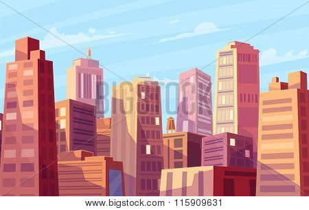 Vector beautiful sunshine over cartoon city.