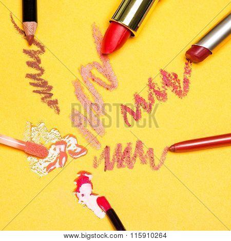 Lip Makeup Cosmetics On Yellow Background