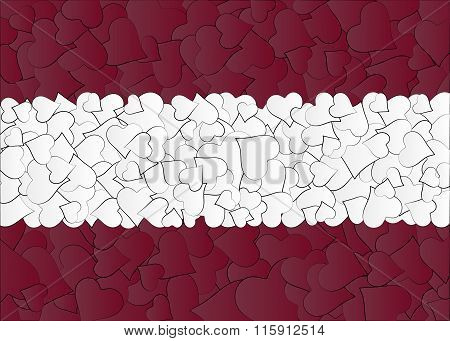 Latvia Austria Flag, maden with doodle hearts, a lot of heart, valentine background