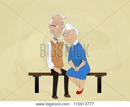 Elderly Couple Embracing Sitting On  Bench.