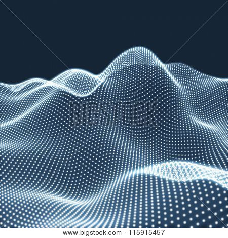 Landscape Background. Futuristic Landscape with Shiny Grid. Low Poly Terrain. 3D Wireframe Terrain. Network Abstract Background. Cyberspace Grid. Technology Vector Illustration of Low-Poly Landscape