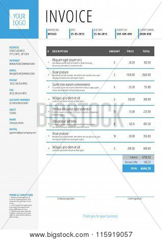 Vector Invoice Form Template Design. Vector Illustration. Blue And Gray Color Theme