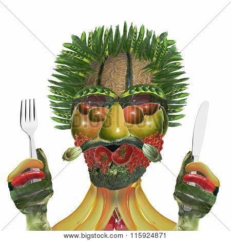 Vegetable Man With Knife And Fork