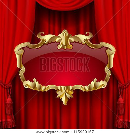 Suspended decorative gold gold baroque frame on the red curtain background. Square presentation artistic poster and placard. Contain the Clipping Path