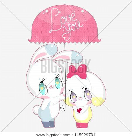 Two cute bunny under the umbrella with words Love You
