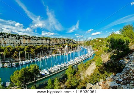 Port Miou during a sunny day, Cassis, France