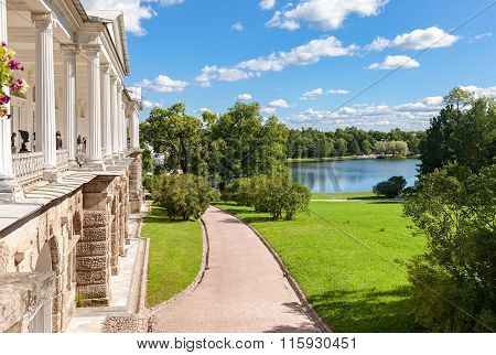 View On The Cameron Gallery And Big Lake In Catherine's Park In Pushkin (tsarskoe Selo)