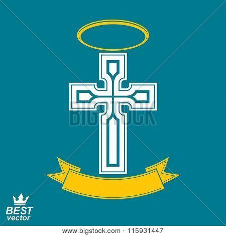 Religious Cross Emblem With Nimbus And Decorative Ribbon, Spiritual Idea Symbol. Christianity Icon,
