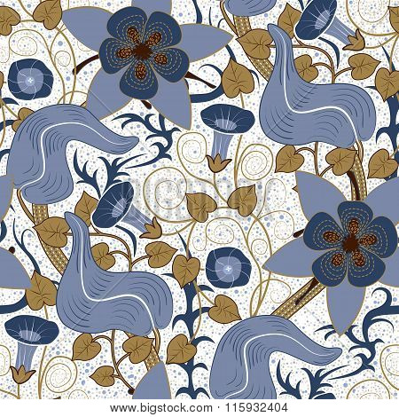 Vector seamless vintage floral pattern. Flowers on a white background