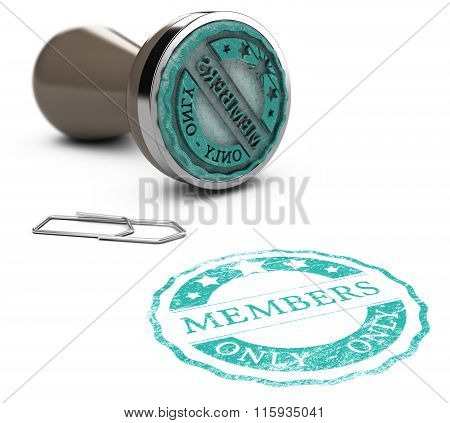 Rubber stamp image with the text members only printed on a white background. Communication concept for Illustration of membership poster