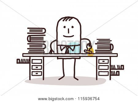 cartoon employee man working at his desk
