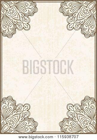 Vintage Vector Background. Decorative Frame On Aged Background.