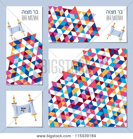 Set Of Bar Mitzvah Invitation Cards With Torah Scroll And Star Of David Ornament. Template.
