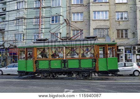 RETRO Vintage Tram Siemens on the streets of Sofia