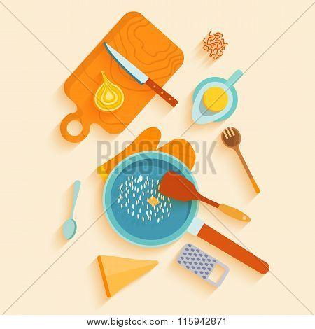 Flat lay design card with recipe of saffron risotto.
