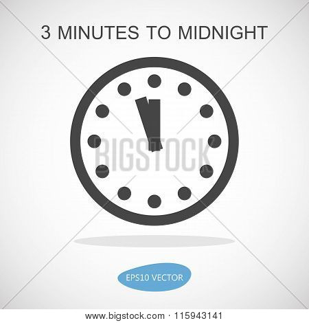 Doomsday Clock Icon - Isolated Vector Illustration
