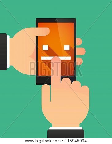 Hands Using A Phone Showing A Emotionless Text Face