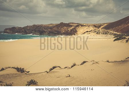 A View Of Playa De Las Conchas, A Beautiful Beach On La Graciosa, A Small Island Near Lanzarote, Can