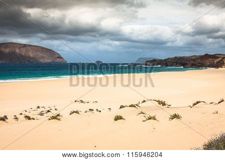 Beautiful Beach Las Conchas,on La Graciosa, A Small Island Near Lanzarote, Canary Islands