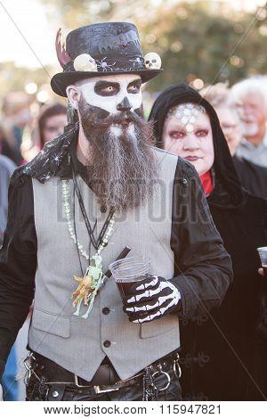 Man In Voodoo Costume Walks Around At Georgia Zombie Festival