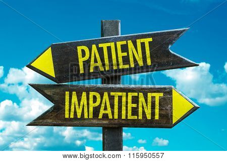 Patient - Impatient signpost in a beach background
