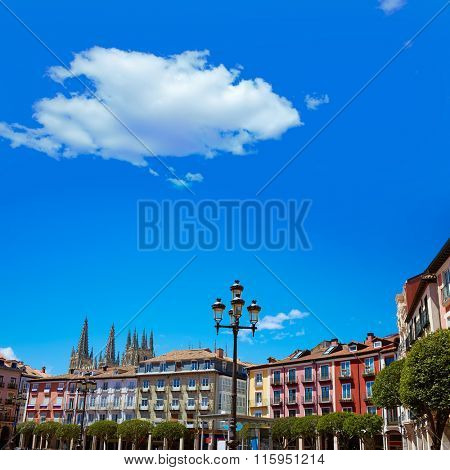 Burgos Plaza Mayor square in Castilla Leon of Spain poster