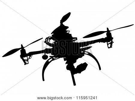 Quadrocopter with photo equipment on a white background