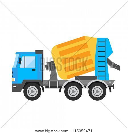 Building under construction cement mixer machine technics vector illustration. Building cement mixer machine truck vector. Under construction vector concept. Mixer vector isolated. Cement mixer