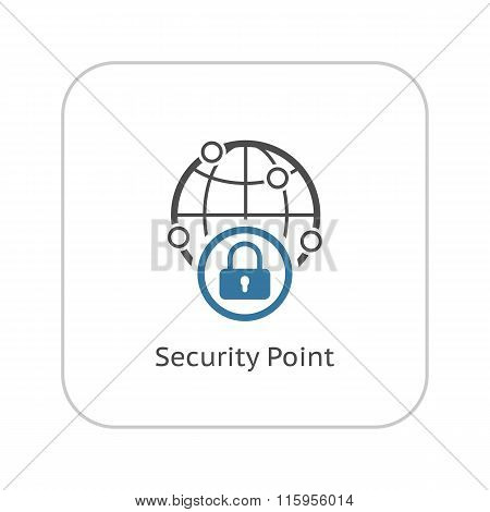 Security Point Icon. Flat Design.