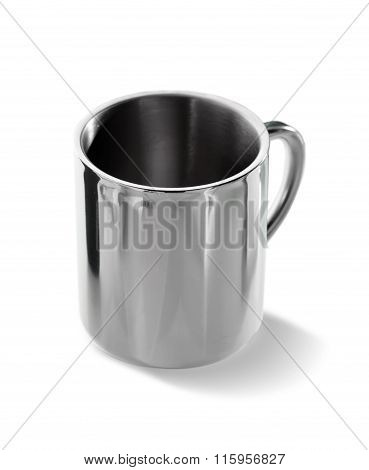 steel mug isolated on white