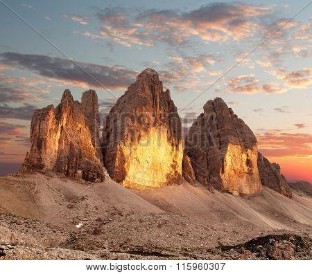 Evening View Of Drei Zinnen Or Tre Cime Di Lavaredo