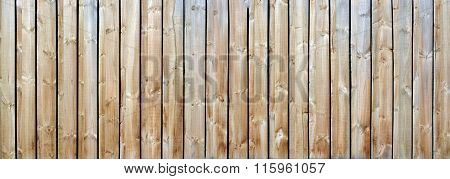 Long Wood Fence Background Panorama With Natural Timber