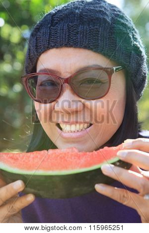 Close Up Face Of Young Woman With Eating Watermelon Use For Good Healthy Of Human Dental