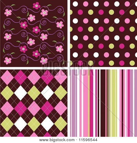 Set of seamless patterns with fabric texture poster