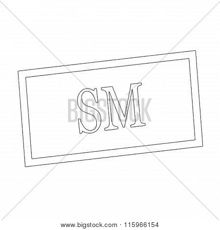 Sm Monochrome Stamp Text On White