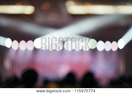 Blurred Background : Bokeh Lighting In Concert With Audience, Music Showbiz Concept.