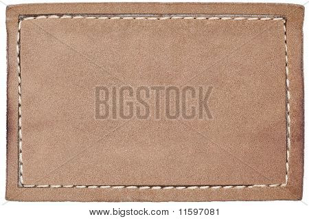 Blank leather jeans label isolated on white poster
